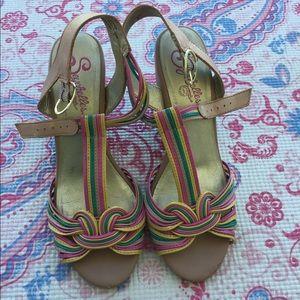 Seychelles Wedge Leather Sandals / Gently Worn